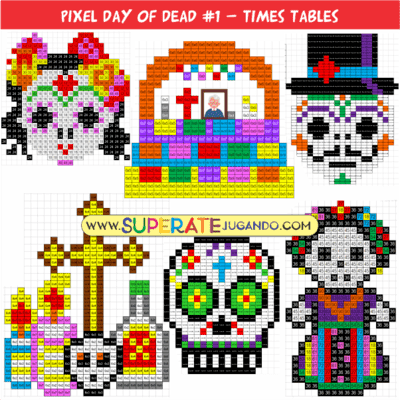 Pixel Day of the Dead - Multiplication - Times Table
