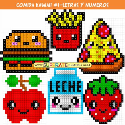 Pixel Comida Kawaii 1 Letras Y Números